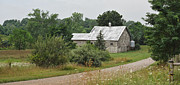 Gravel Road Photos - White Barn On A Back Country Road by Brian Mollenkopf