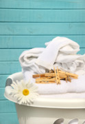 Peg Posters - White  basket with laundry Poster by Sandra Cunningham