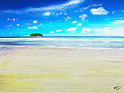 Landscape Digital Paintings - White beach blue sea by James Shepherd