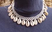 Lace Jewelry - White Bead Lace With Sea Shells by Nurit Schlomi von-strauss