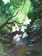 Horizon Paintings - White Begonia by Anil Nene