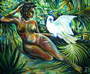 Anna Duyunova Art Prints - White Bird Print by Anna  Duyunova
