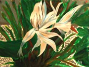 Gravel Painting Prints - White Bird of Paradise Print by Marie Bulger