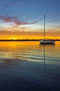 Sunset Greeting Cards Prints - White Boat Print by Debra and Dave Vanderlaan