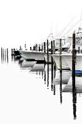 Fishing Art Cards Prints - White Boats I Print by Dan Carmichael