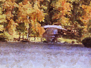 Fall Season Painting Posters - White Bridge at Chickasaw Poster by Jai Johnson