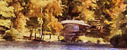 Fall Season Painting Posters - White Bridge at Chickasaw Long Version Poster by Jai Johnson