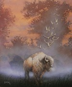 Native Painting Originals - White Buffalo Spirit by Tom Shropshire