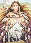 Native American Drawings Framed Prints - White Buffalo Woman Framed Print by Amy S Turner