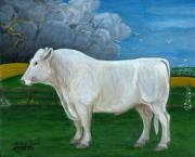 Polish American Painters Paintings - White Bull by Anna Folkartanna Maciejewska-Dyba