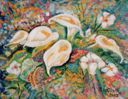 John Keaton Paintings - White Callas by John Keaton