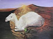 Pottery Paintings - White Camel  by Aleta Parks