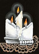 Wax Painting Posters - White Candle Trio Poster by Elaine Hodges