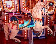 Carousel Horse Painting Framed Prints - White Carousel Horse Framed Print by Amy Vangsgard