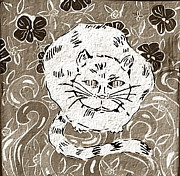 Oriental Ceramics - White Cat In Flower Bed by Patricia Lazar