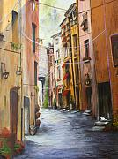 Sienna Italy Metal Prints - White Cat Lane Metal Print by Jan Lowe