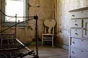 Old Cabins Photos - White Chair in the Bedroom by Lorraine Devon Wilke