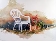 Chair Painting Prints - White Chair with Flower Pots Print by Sam Sidders