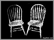Chalk Drawing Metal Prints - White Chairs Metal Print by Emily Kelley