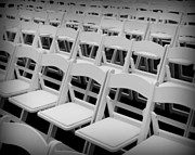 White Chairs Framed Prints - White Chairs Framed Print by Perry Webster