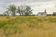 White Church Prints - White Church in Montana Print by James Steele