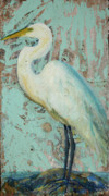 White Birds Posters - White Crane Poster by Billie Colson