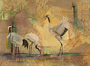Cranes Mixed Media Prints - White Crane Spreads Its Wings Print by Sandy Clift