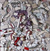 Mosaic Mixed Media - White by Cristina-Mary Buzamet