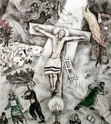 Judaica Prints - White Crucifixion Print by Granger