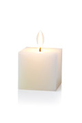 Isolated On White Framed Prints - White Cubic Candle Framed Print by Atiketta Sangasaeng