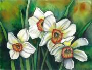 Easter Flowers Drawings Posters - White Daffodils Poster by Linda Nielsen