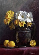 Home Plate Paintings - White Daisies and Daffodils  by Viktoria K Majestic