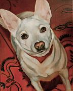 Pet Portraits Framed Prints - White Dog Framed Print by Mary Leslie