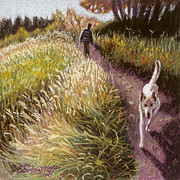 Hiking Pastels Posters - White Dog Walking Poster by Gina Blickenstaff