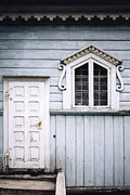 Countrylife Prints - White Doors And Window On Bluish Wooden Wall Print by Agnieszka Kubica