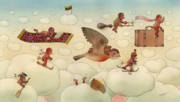 Sky Drawings Prints - White Dream 01 Print by Kestutis Kasparavicius