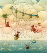Sky Drawings Prints - White Dream 02 Print by Kestutis Kasparavicius