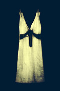 Satin Dress Metal Prints - White Dress Metal Print by Joana Kruse