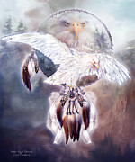 Native American Art Mixed Media Posters - White Eagle Dreams 2 Poster by Carol Cavalaris