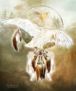 Catcher Mixed Media Posters - White Eagle Dreams Poster by Carol Cavalaris