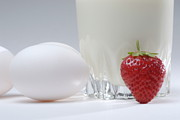 Food And Drink Art - White eggs with glass of milk and strawberry by Sami Sarkis