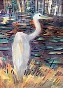 Egret Painting Originals - White Egret by Donald Maier