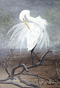 Kevin Brant Paintings - White Egret by Kevin Brant