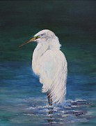 Egret Painting Originals - White Egret by Lisa Graves