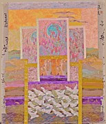 Stained Glass Tapestries - Textiles - White Egrets with Magnolies by Roberta Baker