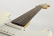 Electric Framed Prints Prints - White Electric Guitar on White Print by M K  Miller