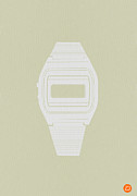 Timeless Design Prints - White Electronic Watch Print by Irina  March