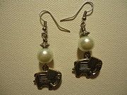 White Pearl Jewelry - White Elephant Earrings by Jenna Green