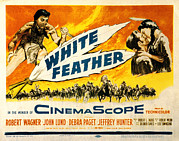 1955 Movies Posters - White Feather, Jeffrey Hunter, Robert Poster by Everett