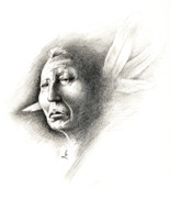 Native American Drawings Posters - White Feather Poster by Robert Martinez